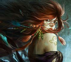 Arwine, miembro de la tribu del pantano de las montañas sagradas de Isteroth. Aunque su tribu esta en guerra con la de las montañas altas, está enamorada de uno de sus miembros. (Rosa)
