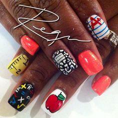 nailsbyregina:  Back To School Nail Art! (Taken with Instagram)  gaah. School starting D;