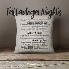 Talladega Nights: The Ballad of Ricky Bobby movie quote pillow cover 18x18inch - fiber arts - movie quotes - washable pillow cover These movie quote pillows are great for any filmophile! Give them as a gift or keep them for yourself, but no matter what, they're sure to be a conversation starter.  Custom printed on either off white, cream, or gray faux linen and sewn into an 18x18inch pillow cover. There is a hidden bottom zipper closure to easily get the pillow insert in and out.  Cover is…