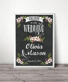 Chalkboard themed wedding welcome sign