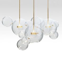 giopato and coombes bolle lighting chandelier suspension lamp italian design borosilicate glass brass bubbles italy shop suite ny Chandelier Bulle, Bubble Chandelier, Interior Lighting, Home Lighting, Pendant Lamp, Pendant Lighting, Rope Lamp, Contemporary Chandelier, Luminaire Design