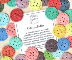30 Cute as a Button Baby Shower Favors  Plantable by recycledideas, $42.00