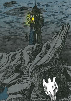 'Moominhouse Ghost' by Tove Jansson Moomin Valley, Tove Jansson, Children's Book Illustration, Finland, Lighthouse, Childrens Books, Fantasy Art, Creepy, Fairy Tales