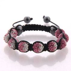 Pink flame, gradient crystal beads on black cord.