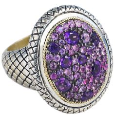 Sterling Silver and Gold Accented Amethyst and Pink Sapphire Ring