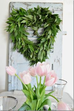Valentines table, heart wreath, bayleaf wreath, tulips, French door, Becky Cunningham home