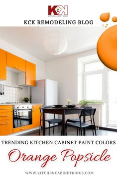For your contemporary dream kitchen design, incorporate orange cabinets with silver hardware and a simple white or concrete countertop.
