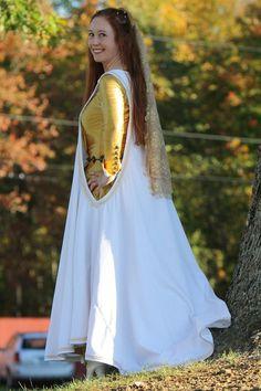 Medieval Renaissance Wedding Dress, Sideless Surcoat, White Velvet - Etsy
