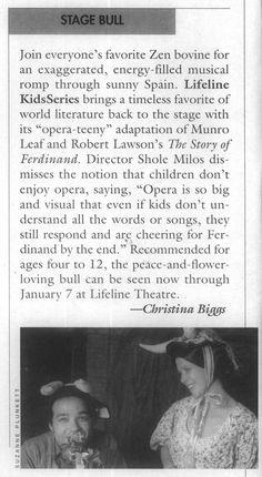 Stagebill Magazine; December 1, 2000