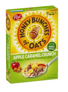 Honey Bunches of Oats with Apples and Cinnamon is a delicious cereal made with real apples, cinnamon, crispy flakes and oat clusters. Caramel Crunch, Caramel Apples, Apple Caramel, Breakfast In America, Best Cereal, Whole Grain Foods, Mint Smoothie, Morning Breakfast, Breakfast Ideas