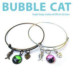 Peeking Black Cat Charm Bangles Bracelets by Bubble Cat All illustrations by Jenn Kent Bangle Bracelets With Charms, Bubble Cat, Organza Gift Bags, Glass Domes, Anklets, Bubbles, Fashion Jewelry, Unique Jewelry