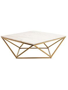 Rosalie Hollywood Regency Gold Steel White Marble Coffee Table ❤ Kathy Kuo Home