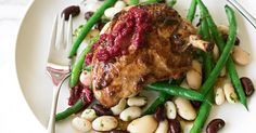 This healthy high-fibre main meal idea combines aromatic chicken with beautiful crunchy green beans.