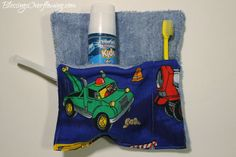 DIY toothbrush holder made from a wash cloth. I'm making these tomorrow!
