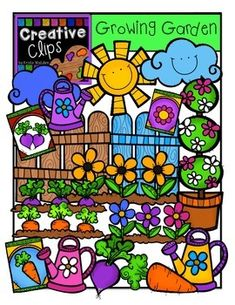 This 37-piece set is bursting plants and garden favorites! Included are 22 vibrant, colored images and 15 black and white version (not shown in the preview). $