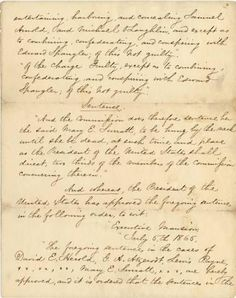 Order of Execution for Mary  Surratt - Indiana Historical Society
