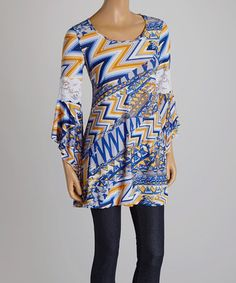 Another great find on #zulily! Mustard & Royal Blue Chevron Lace Bell-Sleeve Tunic #zulilyfinds