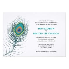 Peacock Wedding Save the Date Cards Peacock Feather Wedding Card