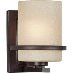 Illumine 1-Light Antique Bronze Wall Sconce with Umber Linen Glass-CLI-FRT2404-01-32 at The Home Depot