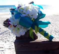 Peacock Feather Bouquet Beach Wedding by 3Mimis on Etsy