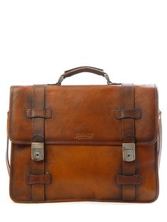 "$1550.00. Sandast - Ruota Leather Bag (Brown) | VAULT. - Dimension : Width 17"", Height 13"", Depth 5"" - Hand polished Italian Vegetable leather with Solid White Brass hardware"