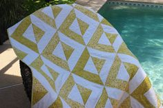 "NEW!! Handmade Patchwork Batik Throw Quilt, ""Key Lime Pie"", 49"" x 56"" in light yellow-green chartreuse"