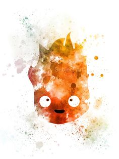Ilustración de la lámina de calcifer, Moving Castle, Studio Ghibli, Anime de Howl, arte de la pared, decoración del hogar