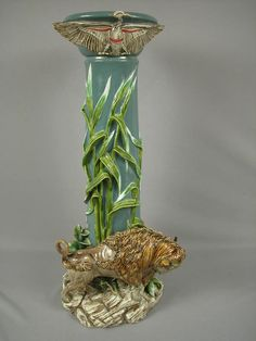 Majolica EICHWALD pedestal with large buffalo