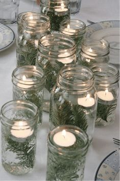 Ideas for wedding table centerpieces floating candles mason jars Winter Centerpieces, Rustic Wedding Centerpieces, Wedding Table Decorations, Winter Decorations, Centerpiece Ideas, Simple Centerpieces, Diy Christmas Table Decorations, Simple Table Decorations, Xmas Table Decorations