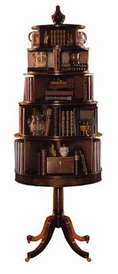 "In the 19th century books were becoming increasingly easy to acquire and more and more homes could afford to have larger collections. The revolving bookcase is a bookcase that uses a ""pivot and post"" design. This design was invented and patented by John Danner of Canton, OH around 1876. Mr. Danner's design allowed the reader to quickly view and select a book from a large number of books in a small space."