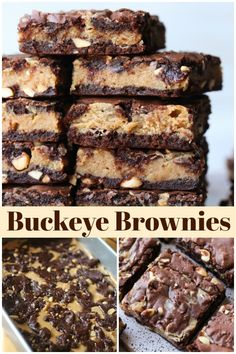 These Buckeye Brownies are an easy chocolate and peanut butter brownie recipe based on classic Buckeye Balls, aka Peanut Butter Balls! A chocolate and peanut butter lovers dream brownie! #cookiesandcups #brownies #buckeyes #peanutbutter #buckeyeballs #peanutbutterballs via @