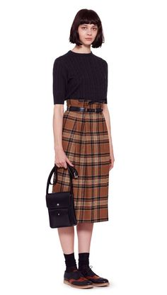 AUTUMN WINTER 2016 COLLECTION -   BLACK CASHMERE SILK CABLE T-SHIRT,  CAMEL/BLACK WOOL TARTAN PLEATED HIGH WAIST SKIRT,  BLACK BRIDLE LEATHER STITCHED TAPERED BELT,  BLACK/TAN LEATHER TWO TONE BROGUE,  BLACK SKIVED BRIDLE LEATHER DOUBLE POCKET BAG