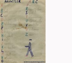 Sense perception, history, empathy: Thomas Geve (b. 1929), The ABC of Auschwitz, Buchenwald DP camp, 1945, Pencil, coloured pencil and watercolour on paper, 15x10cm, Collection of the Yad Vashem Art Museum, Jerusalem, Gift of the artist