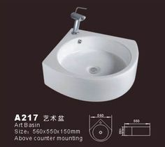 Product Name: Corner bathroom sink  Model No.: DB-A217  Dimension:560X550X150mm  (1 inch = 25.4 mm)  Volume:0.062 CBM  Gross Weight: 17 KGS  (1 KG ≈ 2.2 LBS) Sink shape: Flabellate