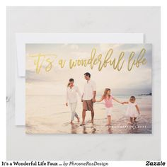 It's a Wonderful Life Holidays Photo Card Script in fake gold, wishing your loved ones in style. Your photo on the back or current floral backing pattern. Personalised Christmas Cards, Merry Christmas Card, Christmas Photo Cards, Holiday Cards, Christmas Holiday, Christmas Decor, Big Photo, Its A Wonderful Life, Happy Birthday Cards