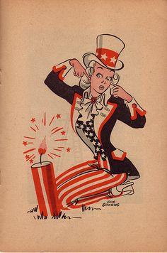 Vintage Patriotic Fourth of July Postcard - Uncle Sam Pin Up Girl