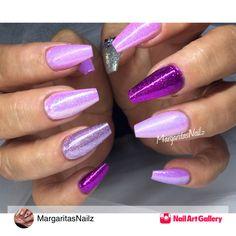Purple Coffin Nails by MargaritasNailz via Nail Art Gallery #nailartgallery #nailart #nails #gel #glitter #purple #holographicglitter #nailfashion #gelnails #naildesign #summernails #prettynails #coffinnails