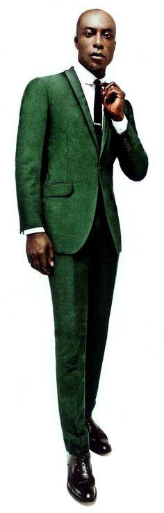Ozwald Boateng in Green Suit in tweed.