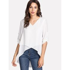 Shop Roll Up Sleeve High Low Cross Top online. SheIn offers Roll Up Sleeve High Low Cross Top & more to fit your fashionable needs. Roll Up Sleeves, Half Sleeves, Types Of Sleeves, Cross Top, Spring Shirts, Asymmetrical Tops, Work Tops, White V Necks, White Tops