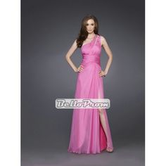 Beautiful One Shoulder Beaded On Double Shoulder Straps Silk Chiffon Prom Dress PD33997 at belloprom.com