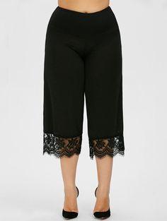 Lace Trim Plus Size Capri Pants - BLACK 4XL