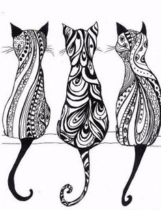 Tatouage chat : signification et Top 60 motifs de tattoo chat 85 adorable cat tattoos Colouring Pages, Adult Coloring Pages, Mandala Coloring, Coloring Sheets, Coloring Books, Tattoo Chat, Tattoo Ink, Hippie Drawing, Three Cats