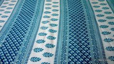 Pure Cotton Pretty Blue Floral and Paisley Block Print 1 Yard. $12.00, via Etsy.