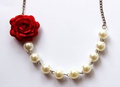 Red flower necklace with pearls fabric rose by asteriasbridal, $9.50