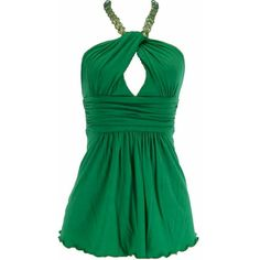 Green Keyhole Necklace Halter Top (1,865 INR) ❤ liked on Polyvore featuring tops, shirts, dresses, green, blusas, tie halter top, green top, shirts & tops, key hole top and keyhole top