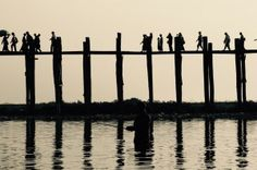 Fisherman under the bridge, U Bein Bridge, Myanmar