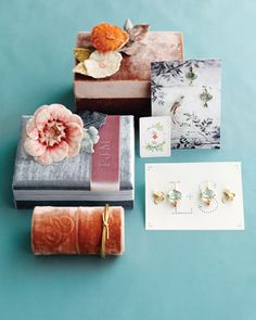 Velvet-Covered Boxes  Elegant millinery flowers and ribbons imprinted with monograms look lovely adorning velvet boxes.