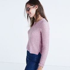 A wear-forever ribbed sweater with a fresh, just-a-touch-cropped length. Made to pair with high-rise everything. <ul><li>Fitted.</li><li>Nylon/merino wool/alpaca/spandex.</li><li>Hand wash.</li><li>Import.</li></ul>