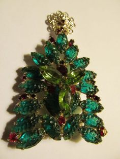 Vtg Juliana D E Rhinestone Molded Collectible Glass Christmas Tree Brooch RARE | eBay