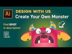 Design with Us - Create Your Own Monster in Adobe illustrator Flat Design, Design Retro, Web Design, Graphic Design Tutorials, Design Blogs, Layout Design, Design Trends, Adobe Illustrator Tutorials, Photoshop Illustrator